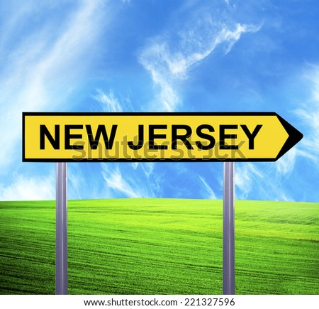 Conceptual arrow sign against beautiful landscape with text - NEW JERSEY - stock photo