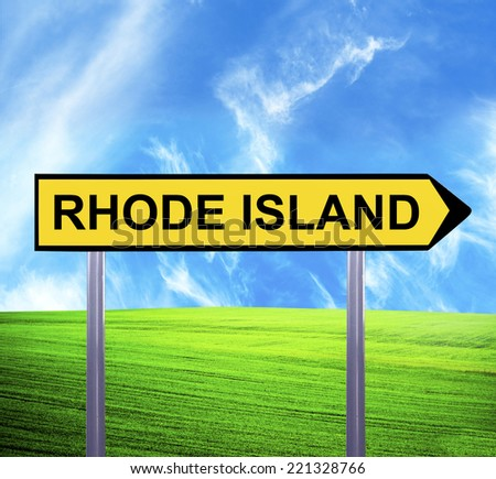 Conceptual arrow sign against beautiful landscape with text - RHODE ISLAND - stock photo