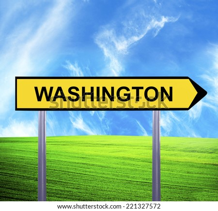 Conceptual arrow sign against beautiful landscape with text - WASHINGTON - stock photo