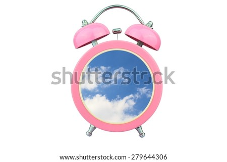conceptual art : time to relax : sky and cloud within pink alarm clock isolated on white background - stock photo