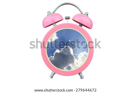 conceptual art : time to relax : sunlight shining through cloud within pink alarm clock isolated on white background - stock photo