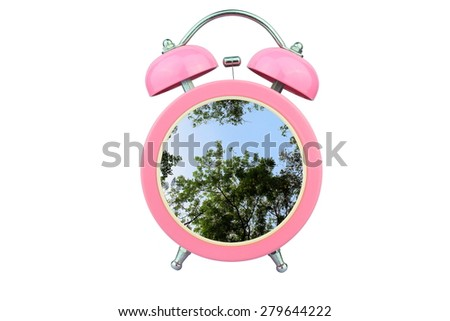 conceptual art : time to relax : tree within pink alarm clock isolated on white background - stock photo