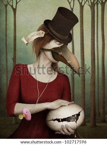 Conceptual art with  girl an  child egg. Computer Graphics. - stock photo