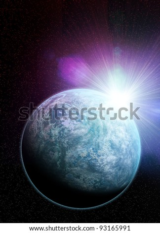 Conceptual artwork of  Kepler 20f earth like planet recently discovered. A distant sun flares over its crest. - stock photo
