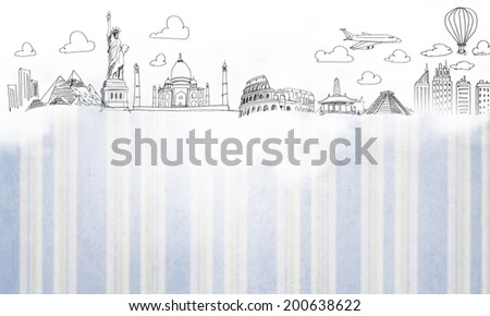 Conceptual background image with sketches on white backdrop - stock photo