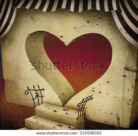 Conceptual background or illustration with  door in the shape of  heart.  - stock photo