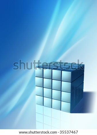 Conceptual background showing an high technology cube. Digital illustration
