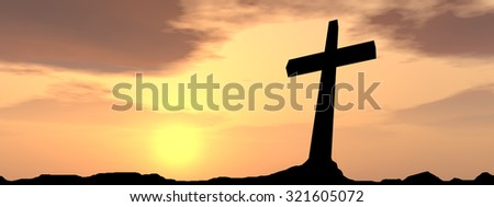 Conceptual black cross, religion symbol silhouette in rock landscape over a sunset, sunrise sky with sunlight clouds background banner for God, Christ, Christianity, religious, faith, Jesus belief - stock photo