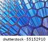 conceptual blue texture with transparent honeycomb - stock vector