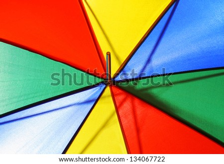 Conceptual bright multicolored beach umbrella closeup