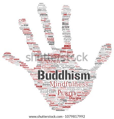 Conceptual Buddhism Meditation Enlightenment Karma Hand Stock