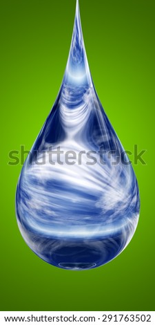 Conceptual clean cold blue rain water liquid drop falling, green gradient  background metaphor to nature, wet, purity, splash, fresh, spring, summer, pure, freshness, drink, eco or environment - stock photo