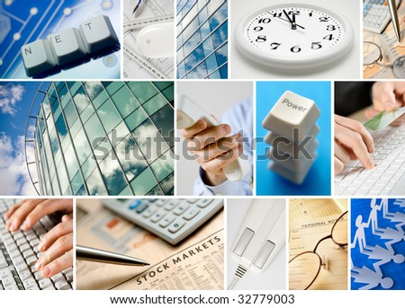 Conceptual collage of business images - stock photo
