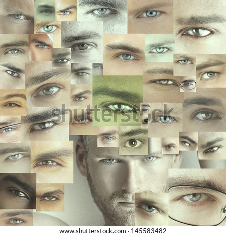 Conceptual collage of several different male eyes - stock photo