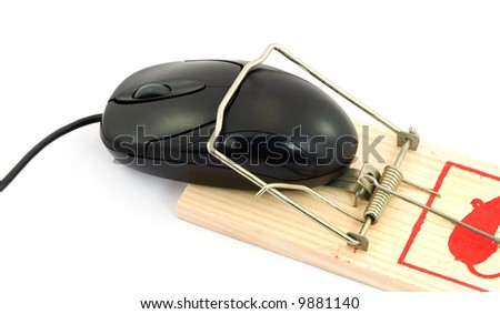 conceptual - computer criminal cought - mouse in a mouse trap