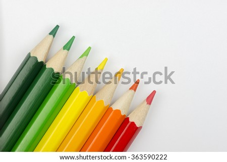 Conceptual crayons represented as successor energy label colors