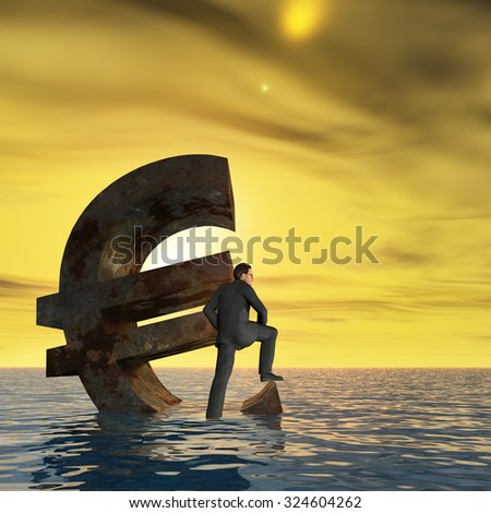 Conceptual 3D currency euro symbol sinking in water, sea or ocean with business man, concept for European crisis, metaphor to financial, banking, businessman, economy, problem, danger, risk at sunset - stock photo