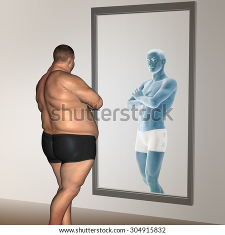 Conceptual 3D fat overweight vs slim fit with muscles young man on diet reflecting in a mirror metaphor for weight loss, body, fitness, fatness, obesity, health, healthy, male, dieting, shape - stock photo