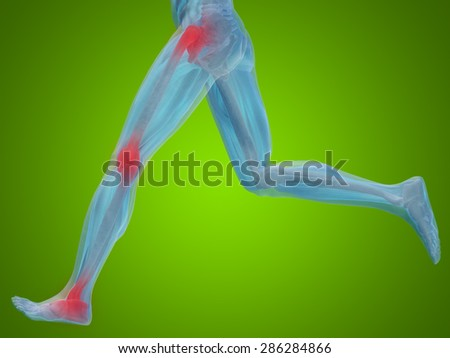 Conceptual 3D human man anatomy, health design, joint or articular pain, ache, injury on green gradient background for medical, fitness, medicine, bone, care, hurt, osteoporosis painful arthritis body - stock photo