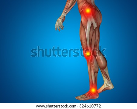 Conceptual 3D human man anatomy lower body or health design, joint or articular pain, ache or injury on blue background for medical, fitness, medicine, bone, care, hurt, osteoporosis arthritis or body - stock photo