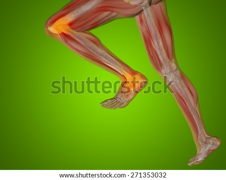 Conceptual 3D human man anatomy or health design joint, articular pain ache or injury over green gradient background for medical fitness medicine bone care hurt osteoporosis painful arthritis or body - stock photo