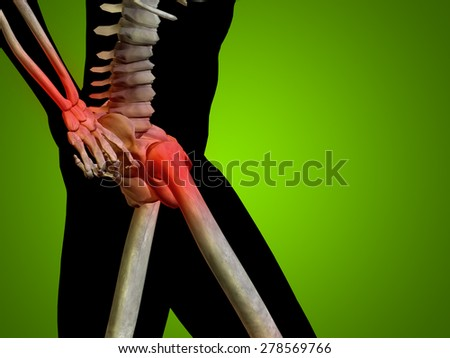 Conceptual 3D human man anatomy or health design joint or articular pain ache or injury on green gradient background for medical fitness medicine bone care hurt osteoporosis painful, arthritis or body - stock photo