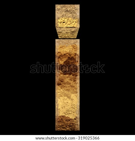 Conceptual 3D i yellow shiny gold golden metal font part of a set or collection isolated on black background metaphor to luxury, rich, money, decoration, expensive, modern, art, retro, vintage design