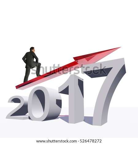 Conceptual 3D illustration human, man businessman standing over an red 2017 year symbol with an arrow on background for economy growth future finance progress success improvement profit design