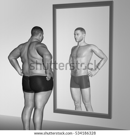 Conceptual 3D illustration of fat overweight vs slim fit with muscles young man on diet reflecting mirror, metaphor weight loss, body, fitness, fatness, obesity, health, healthy, shape, male dieting