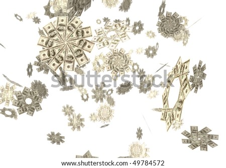 Conceptual 3D illustration of snowflakes made from hundred dollar bills falling from the sky