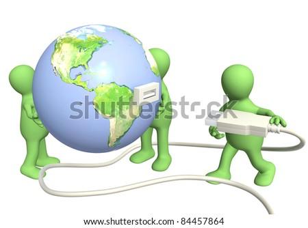 Conceptual 3d image - global communication - stock photo
