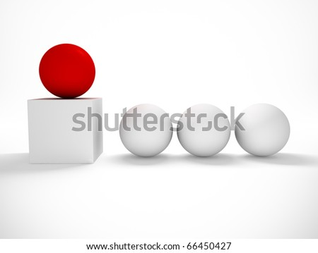 conceptual 3d image with balls - stock photo