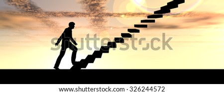 Conceptual 3D male businessman on stair or steps over sunset sky background banner metaphor to success, climb, business, rise, achievement, growth, job, career, leadership, education, goal or future - stock photo