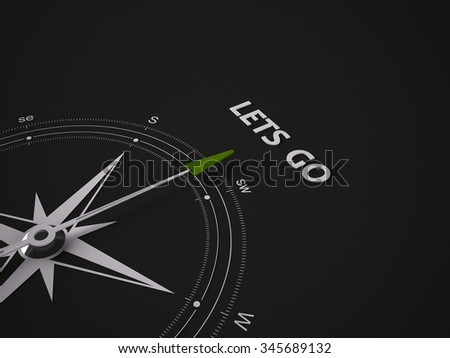 Conceptual 3D render image with a frameless Compass focus on the words lets go - stock photo