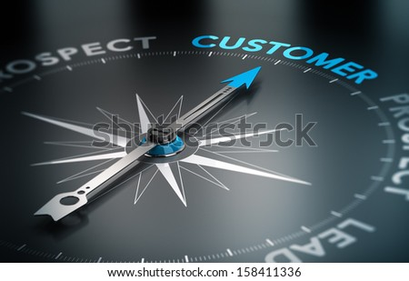 Conceptual 3D render image with depth of field blur effect. Compass with the needle pointing the word customer, Concept of crm and lead conversion.  - stock photo