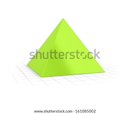 Conceptual 3D render of a pyramid over perspective background.  - stock photo