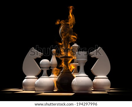 Conceptual 3d render of chess situation - stock photo