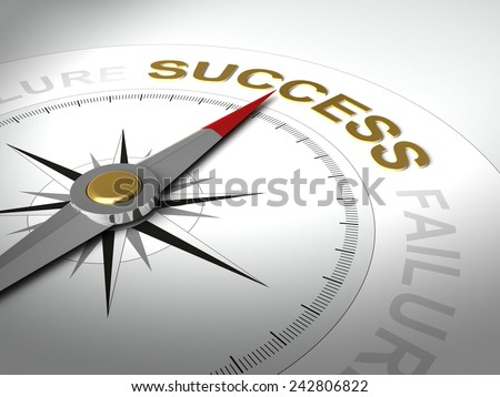 Conceptual 3D render of compass with needle pointing the word success - stock photo