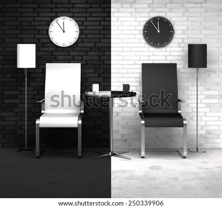 conceptual 3D rendering concerning time or day and night - stock photo