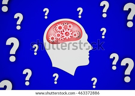 conceptual 3D rendering 3D illustration, man intensely thinking over the question, blue background