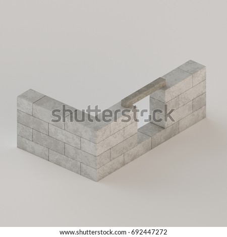 conceptual depiction of house walls made of concrete blocks with a window lintel installed building