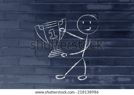 conceptual design about reaching success and being number one - stock photo
