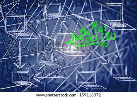 conceptual design of the e-business dream, money coming towards computer screen from its network of connections - stock photo