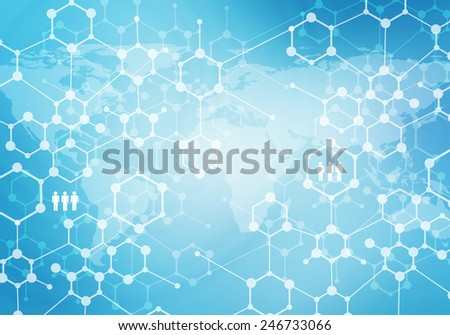 Conceptual digital background image presenting global interaction - stock photo