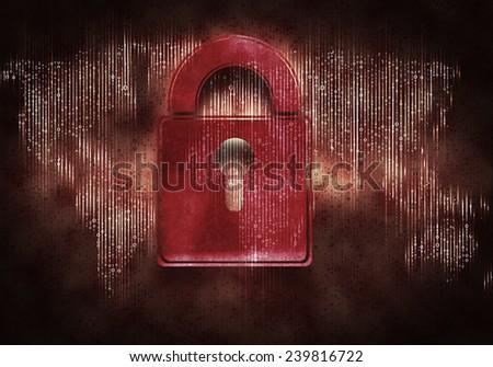 Conceptual digital image of lock on binary background - stock photo