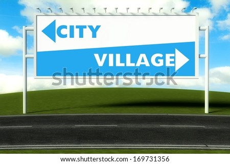 Conceptual direction signs lead to city and village - stock photo