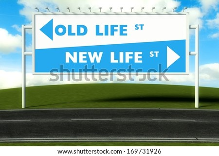 Conceptual direction signs lead to old or new life, concept - stock photo