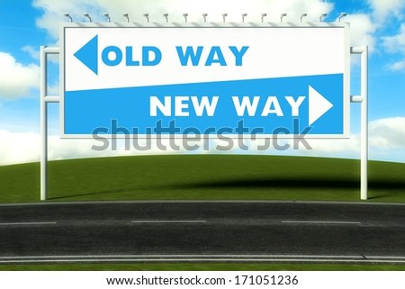 Conceptual direction signs lead to old way or new path, concept - stock photo
