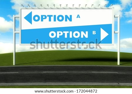 Conceptual direction signs lead to option A or option B, concept - stock photo