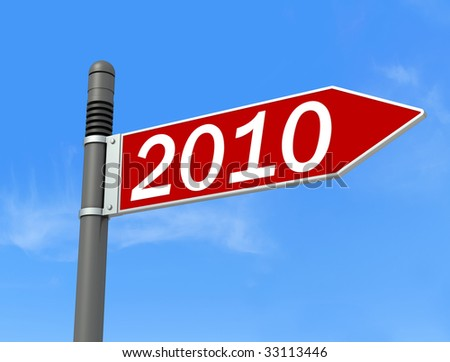 conceptual,directional sign post for the new year -rendering